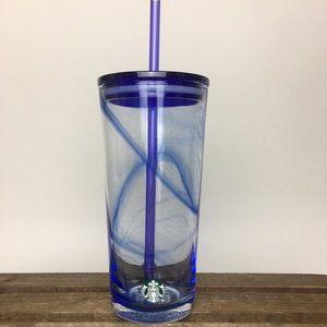 STARBUCKS Blue Swirl Glass Tumbler